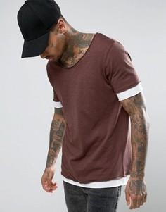 Длинная фактурная футболка с необработанным овальным вырезом и двухслойными манжетами ASOS - Коричневый
