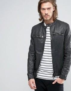 Байкерская кожаная куртка с молнией спереди Goosecraft - Черный
