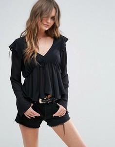 Блузка с оборками ASOS - Черный