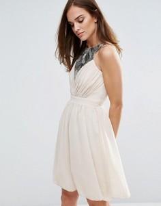 Платье для выпускного с отделкой пайетками Little Mistress - Бежевый