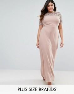 Декорированное платье макси с шифоновой юбкой Lovedrobe Luxe - Золотой