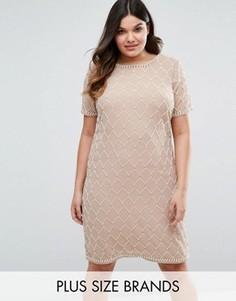 Цельнокройное платье с отделкой Lovedrobe Luxe - Серый