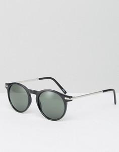 Солнцезащитные очки с металлическими дужками Monki - Черный