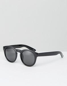Круглые солнцезащитные очки с вырезом замочная скважина Monki Retro - Черный