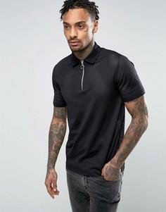 Черная футболка-поло на молнии из плотной сетки ASOS - Черный