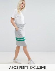 Трикотажная юбка-карандаш с полосками ASOS PETITE - Серый