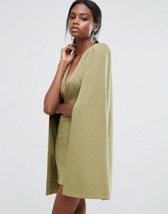 Платье мини с кейпом и разрезом сзади Lavish Alice - Зеленый