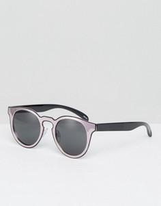 Солнцезащитные очки кошачьи глаза в стиле колор блок Monki - Розовый