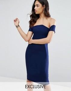 Платье-футляр с открытыми плечами Vesper - Темно-синий