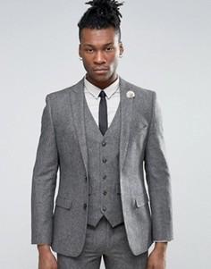 Твидовый пиджак с добавлением шерсти Harry Brown - Серый