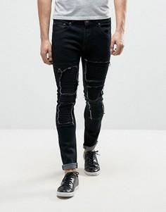 Рваные джинсы скинни с заплатами в байкерском стиле Liquor & Poker - Черный