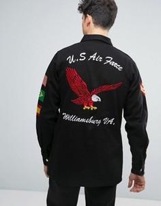 Выбеленная черная куртка в стиле милитари с нашивками Liquor & Poker - Черный