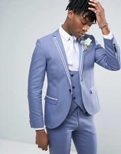 Noose & Monkey Super Skinny Wedding Suit Jacket With Double Piping - Синий