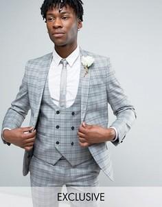 Приталенный пиджак в клетку Noose & Monkey Wedding - Серый
