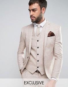 Шерстяной приталенный пиджак в крапинку Noak Wedding - Бежевый