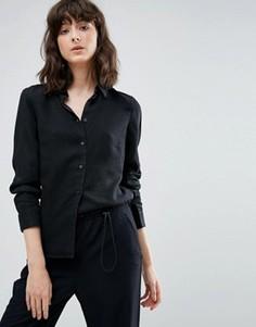 Узкая джинсовая рубашка Weekday - Черный