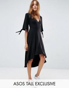 Платье миди с запахом и разрезами на рукавах ASOS TALL - Черный