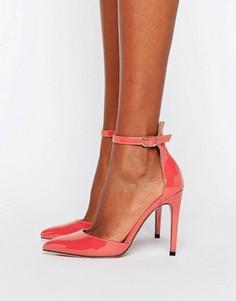 Туфли на каблуке с острым носком и ремешком на щиколотке Little Mistress - Оранжевый