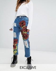 Рваные джинсы с нашивками в виде роз из пайеток One Above Another - Синий