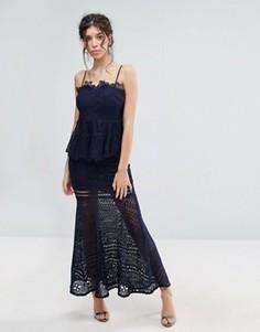 Кружевное платье макси с баской Love Triangle - Темно-синий