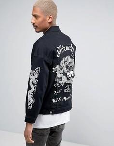 Джинсовая куртка с принтом на спине Sixth June - Черный