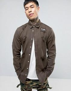 Длинная джинсовая рубашка цвета хаки с рваной отделкой Sixth June - Зеленый