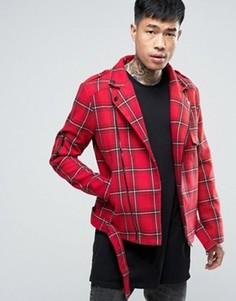 Байкерская куртка в клетку тартан Sixth June - Красный