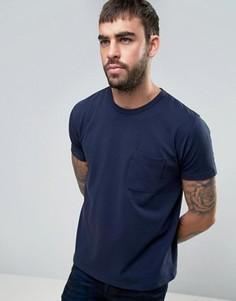 Футболка с перфорацией и с карманом YMC - Темно-синий