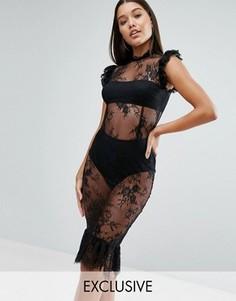 Кружевное платье миди с оборкой и высокой горловиной NaaNaa - Черный