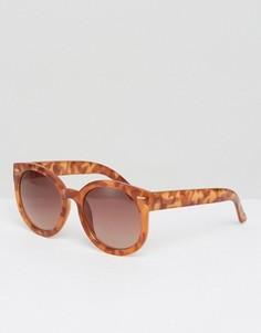 Большие круглые солнцезащитные очки Monki - Коричневый