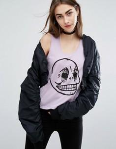 Короткая футболка с черепом Cheap Monday - Фиолетовый