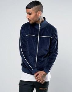Темно-синяя велюровая спортивная куртка с контрастной окантовкой ASOS - Темно-синий