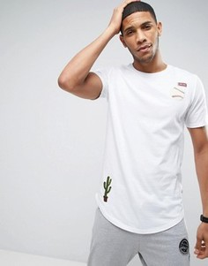 Длинная футболка с нашивками Only & Sons - Белый