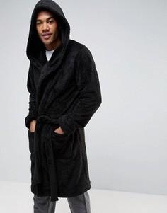 Флисовый халат с капюшоном ASOS - Черный