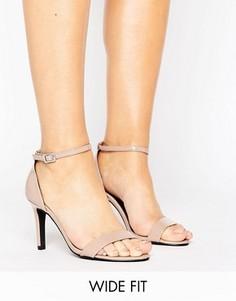 Лакированные босоножки на каблуке для широкой стопы New Look - Бежевый