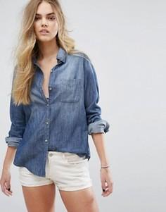 Джинсовая рубашка с принтом на спине Hollister - Синий