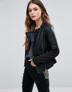 Байкерская куртка из искусственной кожи Brave Soul - Черный