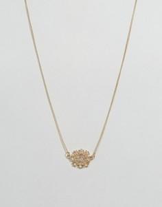 Ожерелье с цветочной подвеской из камней DesignB - Золотой