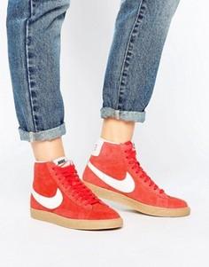 Красные замшевые кроссовки средней высоты Nike Blazer - Красный