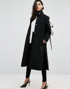 Легкое пальто с отделкой в виде петель на рукавах ASOS - Черный