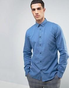 Джинсовая рубашка классического кроя с эффектом выцветания Solid - Синий