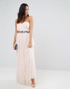 Декорированное платье макси на одно плечо Little Mistress - Бежевый