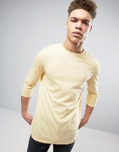 Желтая футболка с рукавами 3/4 ASOS - Желтый