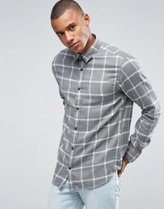 Рубашка классического кроя в клетку из хлопка с начесом Selected Homme - Черный