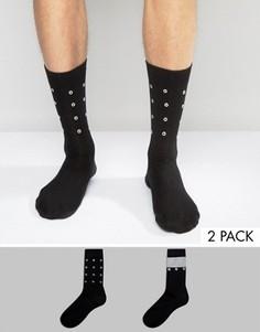 2 пары носков с блестящими люверсами ASOS - Черный
