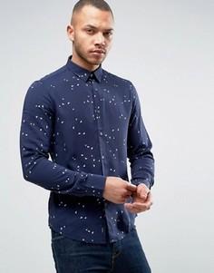 Темно-синяя приталенная рубашка с логотипом Armani Jeans - Синий