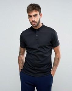 Трикотажная футболка-поло без воротника Calvin Klein - Черный