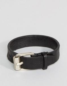 Черный кожаный браслет-манжета Diesel A-Roundd - Черный