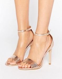 Сандалии на каблуке цвета розового золота Public Desire Lily - Золотой