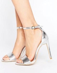 Серебристые босоножки на каблуке Public Desire Lily - Серебряный